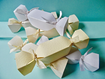 Small Wedding  Cracker Favour / gift boxes white, ivory, cream textured & pearl card
